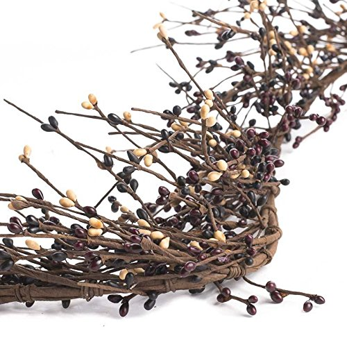 Tan Berry (Factory Direct Craft Flexible and Full of Burgundy, Black and Tan Color Pip Berry Garland for Decorating, Creating and Embellishing)