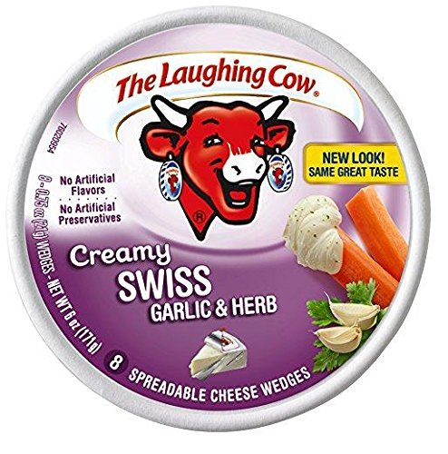(The Laughing Cow Creamy Swiss with Garlic & Herbs (Pack of 2) 8 Wedges per Pack)