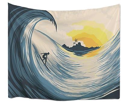 AMonamour Tropical Island Sunset Big Ocean Waves Surfers On Surfboard Anime Print Fabric Tapestry