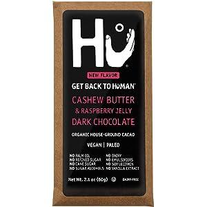 Hu Vegan Chocolate Bars | 4 Pack Raspberry Jelly Cashew Butter Chocolate | Gluten Free, Paleo, Non GMO, Kosher Dark Chocolate | 2.1oz Each