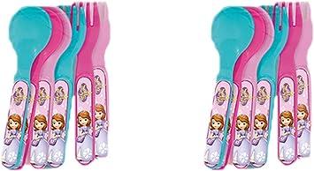 ALMACENESADAN 2260; Pack 12 Cubiertos Fiesta y cumpleaños Disney Princesa sofía; 6 cucharas y 6 Tenedores; Producto de plástico; NO BPA.: Amazon.es: Juguetes y juegos