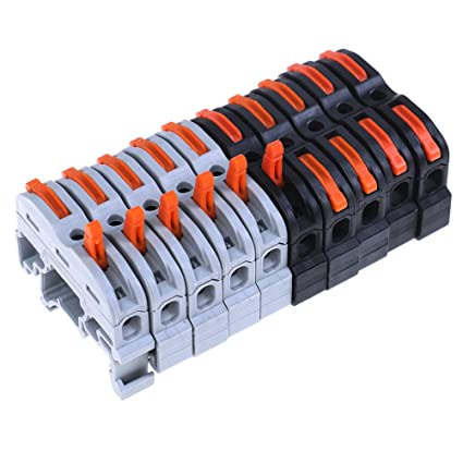10 Pcs Terminal Block, Wire Connector 1 Pin Din Rail Compact ... Terminal Block Wiring on