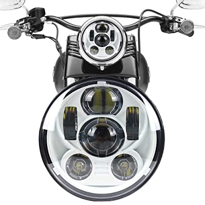 "Akmties Motorcycle Headlight 5.75 Inch 5 3/4"" Round LED Projection Headlight Compatible for Motorcycle Street Bob Sportster Wide Glide Low Rider Headlamp (White) …: Automotive"