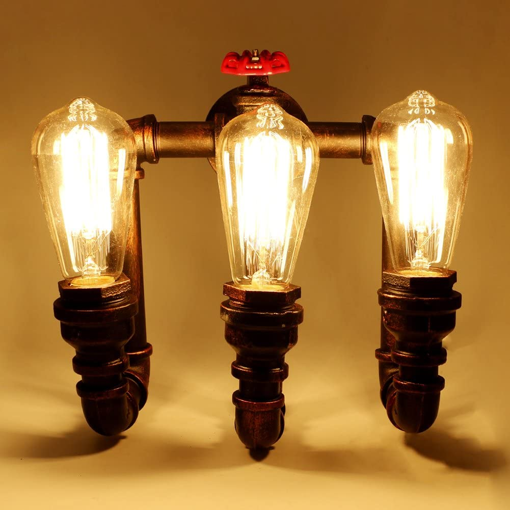 Linkax Vintage Metal Loft Pipe Wall Light Retro Industrial 3 Lights Wall Lamp Home Lighting Fixture Cafe Bar Wall Sconce E27 Lamp Base Bulbs not Included