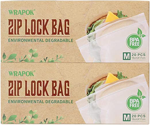 WRAPOK Bolsas compostadas con congelador Ziplock Bolsa resellable ...