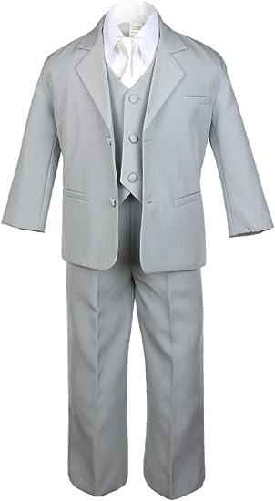 Unotux 6pc Boy Black Suits Tuxedo Satin Lime Green Necktie Vest Set Baby to Teen