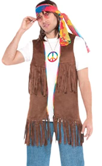 Fancy Ole Herren Manner Hippie Weste Flower Power Karneval
