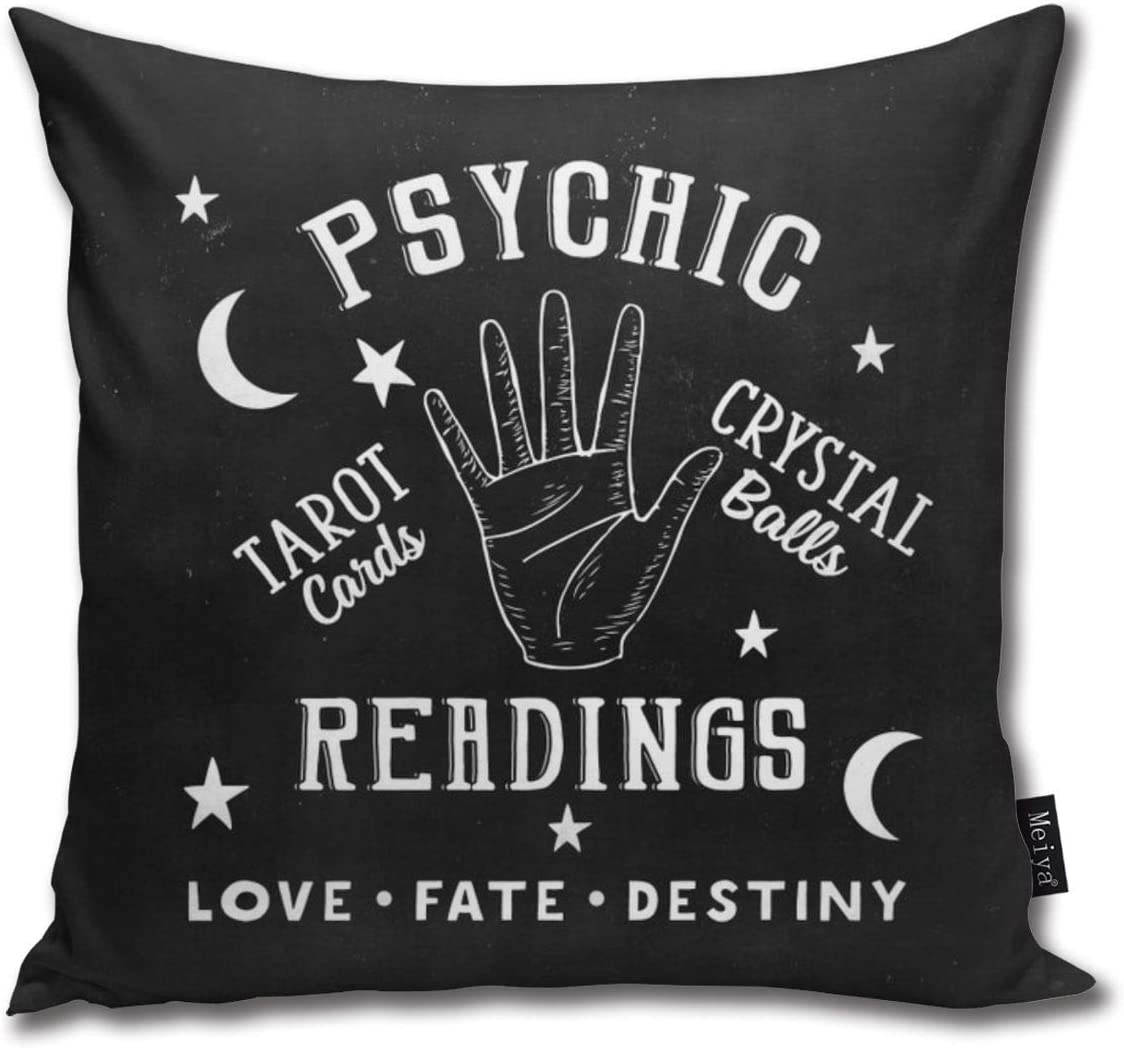 Vintage Fortune Teller Psychic Readings Decorative Throw Pillow Case Cushion Cover for Living Room Bedroom Sofa Chair Car 18x18 inches