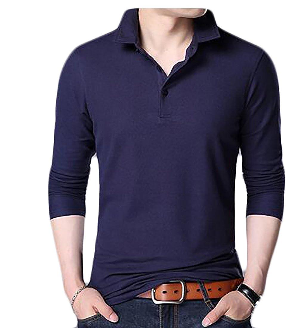 Wsplyspjy Mens Business Polo Shirt Long Sleeve Collared T Shirt