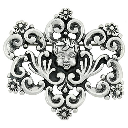 Sterling Silver Filigree Brooch Pin with Boy's Face Design, 1 1/2 inch tall