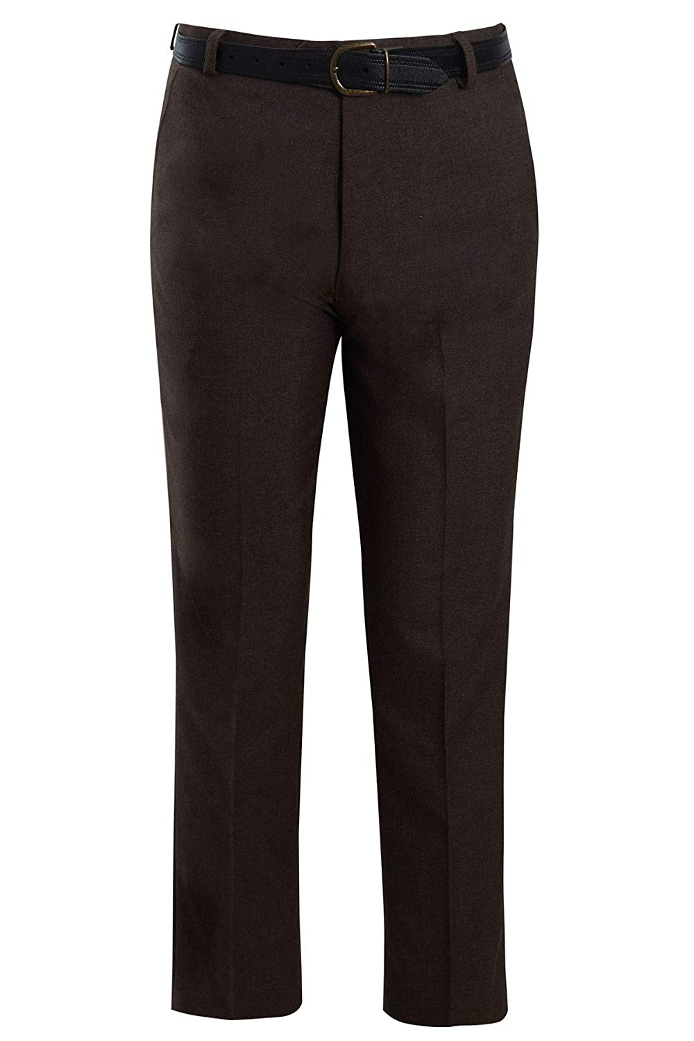 shelikes Mens Formal Trousers Casual Business Office Work Belted Smart Straight Leg Everpress Pants Size 30-50