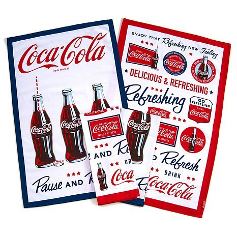 Coca-cola Set of 4 Kitchen Towels Retro Look, Nostalgic Slogans