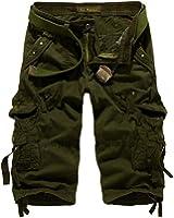 MR. R Men's Relaxed Fit Solid Long Cargo Shorts Capri Pants (no belt)