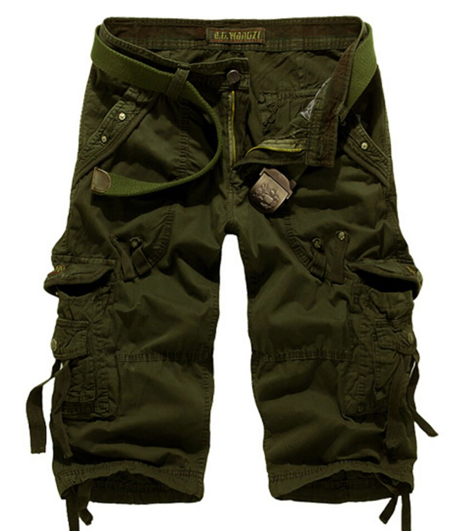 Men's Lightweight Relaxed Fit Cargo Shorts Army Green 38