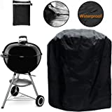 "Grill Cover, Kettle Style Barbecue Grill Cover Waterproof Outdoor Round Grill Cover with Elastic Strap, Dia 30""x 29""H"
