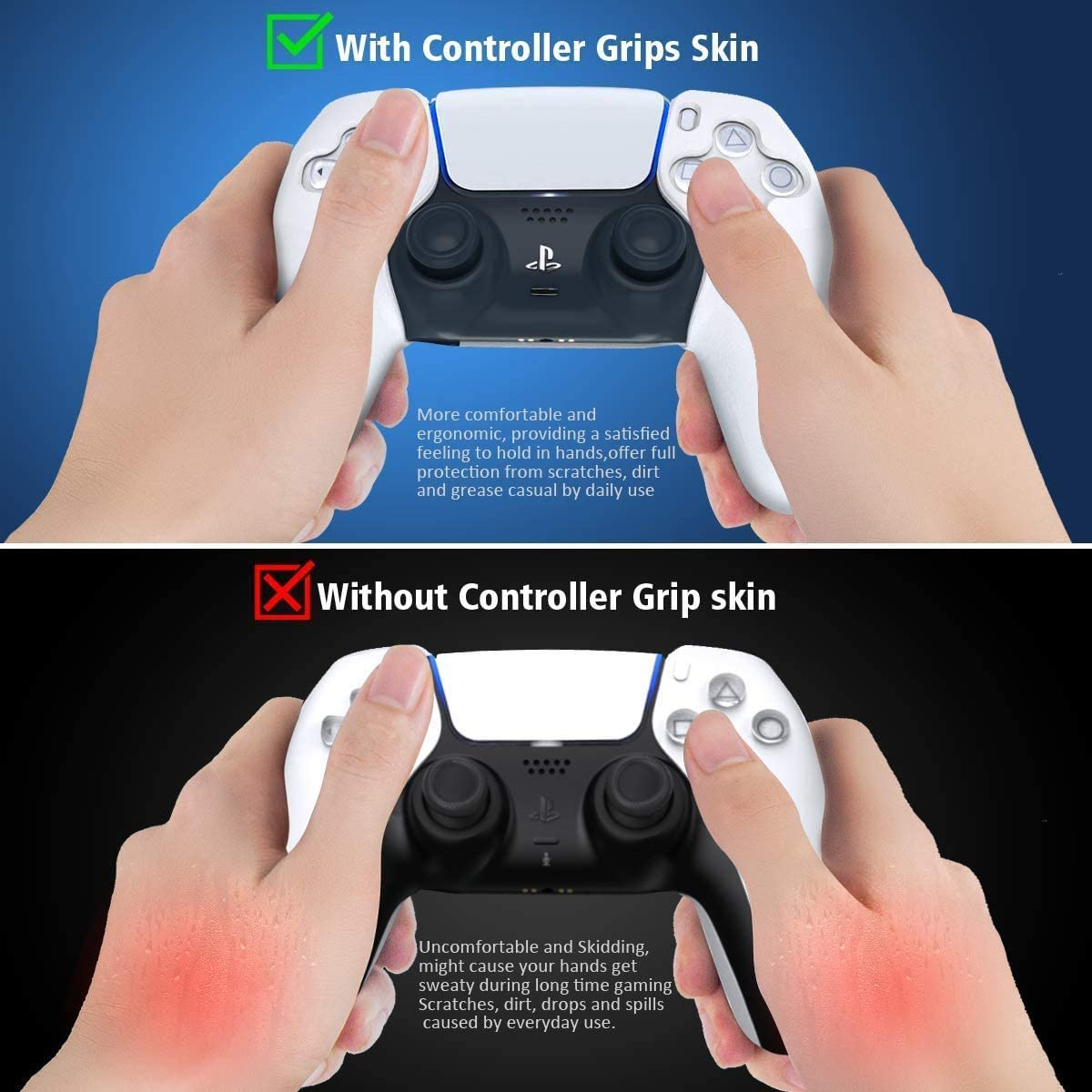 PS5 Controller Skin Anti-Slip Silicone Cover Protective Case Skins Comfortable Grip Blue + Red PS5 Accessories 8 Thumb Grips for Sony Playstation 5 Dualsense Wireless Controller UK SELLER