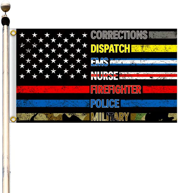 HomShional No One Fights Alone Flag American Flag 3x5 Outdoor Garden Flag with Thin Blue Line Flag for Supporting Our First Responders