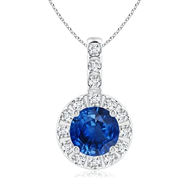 0f73d4a946bd4 Amazon.com: Vintage Style Blue Sapphire and Diamond Halo Pendant in ...