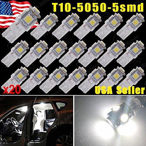 Focuslife 20x Pure White 5 SMD T10 Wedge 168 194 2825 LED...