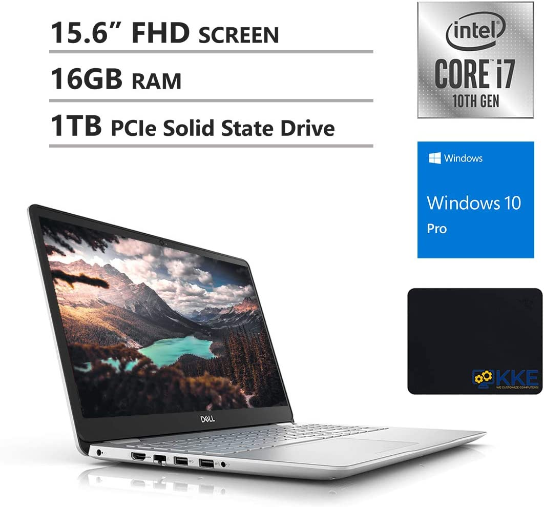Dell 2020 Inspiron 15.6'' FHD Business Laptop, 10th Gen Intel i7-1065G7, 16GB DDR4 RAM, 1TB PCIe NVMe SSD, HDMI, Wireless-AC, Backlit Keyboard, FP Reader, Silver, KKE Mouse Pad, Windows 10 Pro