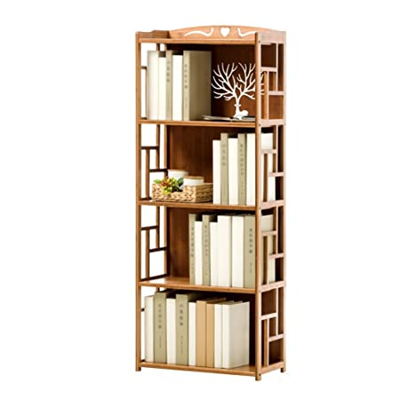QIANGDA Floor Bookshelf Student Bookcase Children s Bedroom Bamboo File Shelves Magazine Rack Simple Style, 2 Tiers 3 Tiers 4 Tiers Optional Size 70 x 30 x 135cm