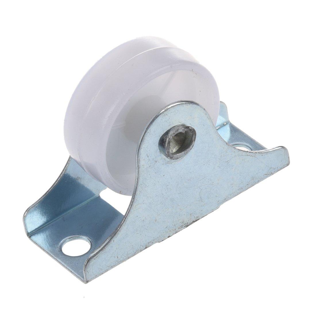 SODIAL(R) 4 x roue pivotante de rechange pour les meubles En plastique blanc Diametre 25mm 007011