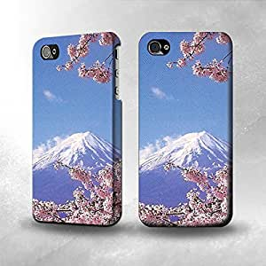 Apple iPhone 4 / 4S Case - The Best 3D Full Wrap iPhone Case - Mount Fuji Sakura Cherry Blossom