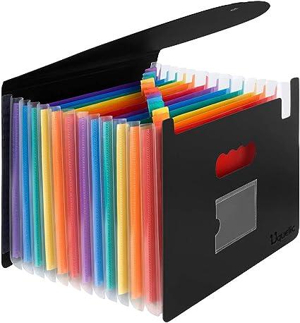 Uquelic Ampliable Carpetas Plastico- A4 Carpeta Clasificadoras de Espacio Grande con 12 Bolsillos File Organizer con Tapa de Oficina en Hogar de Documentos de Archivos de Acordeón (12 pocket): Amazon.es: Oficina y