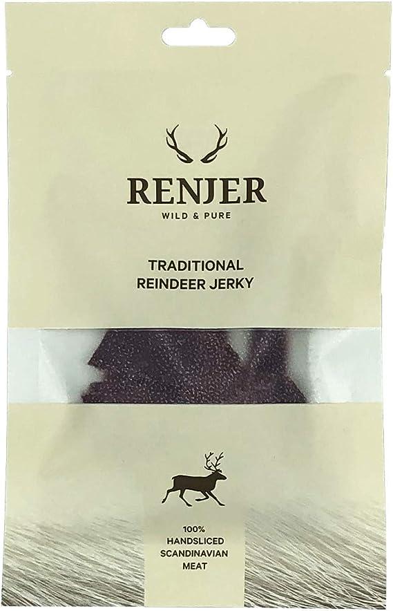 Renjer - Carne seca de Reno - snack tradicional proveniente de Suecia, saludable y natural, 57% proteína, sin azúcar, bajo en grasas, ideal para ...