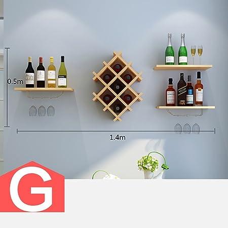 Cabinets L botellero botellero de Madera de Montaje en la Pared Mueble Bar para decoración de Pared de Bar Moderna Sala de Estar botellero Colgar en la Pared Opcional (Color : G):