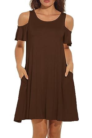 d90ebca39e5e Womens Dress Open Shoulder Casual Dress Short Sleeve Summer Dress Cold  Shoulder Swing Round Neck Sun