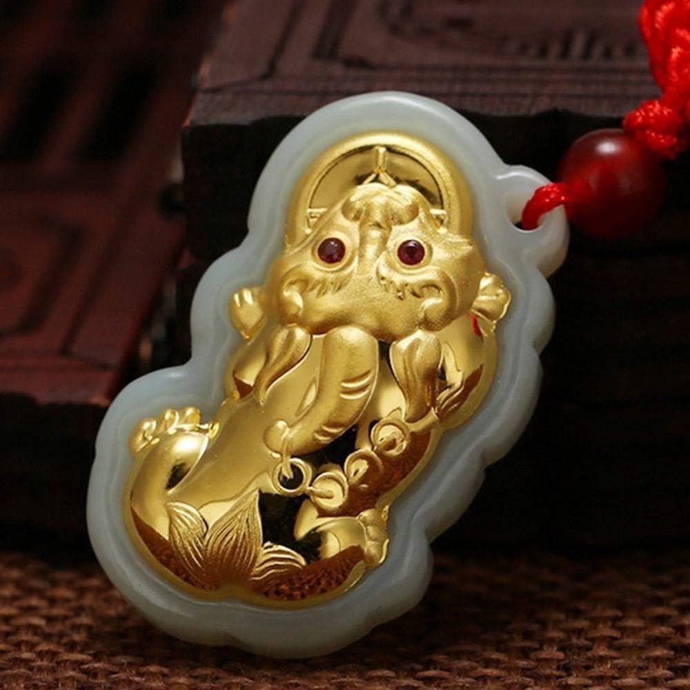Mayanyan Oro con Incrustaciones de Jade y nefrita Oro Oro incrustado y Hetian Correa Taladro Pixiu Macho Regalo de Colgante