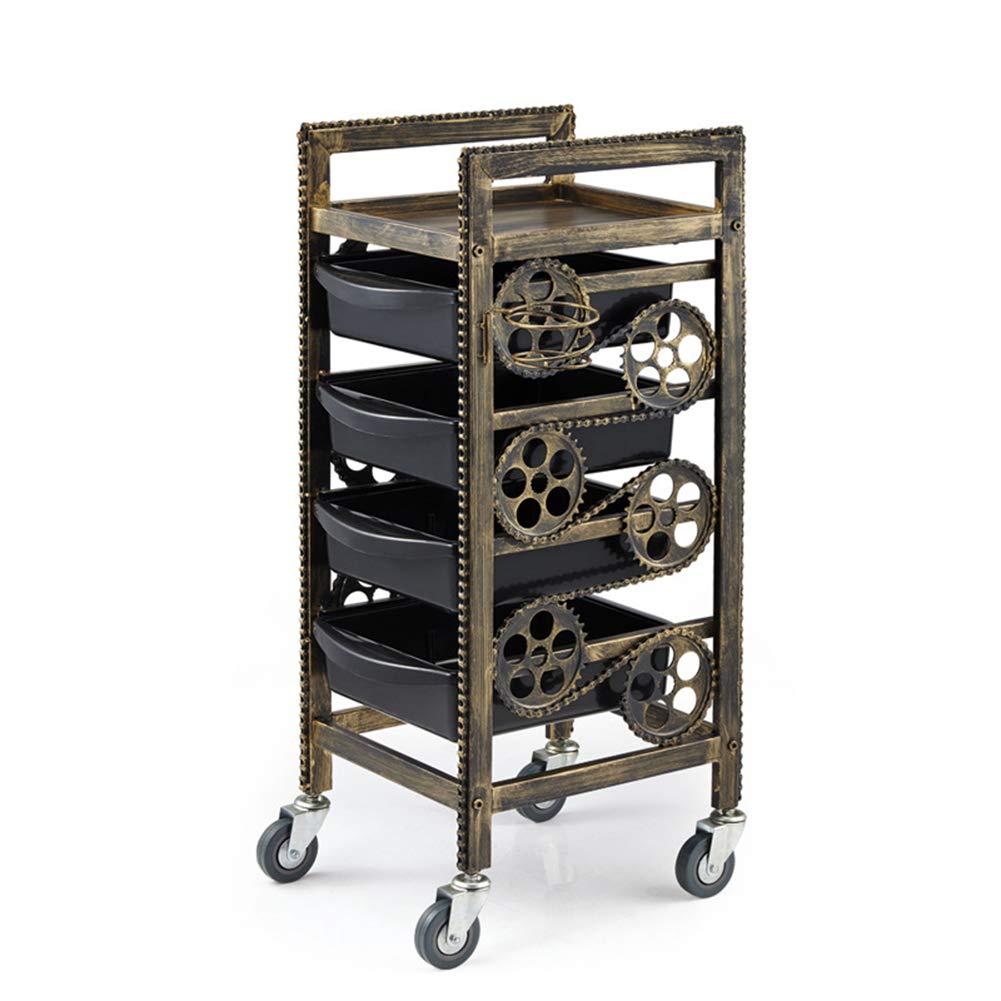 Amazon.com: MJHY Barber Car Wheels Salon Car With 4 Drawers Retro,Bronze: Beauty