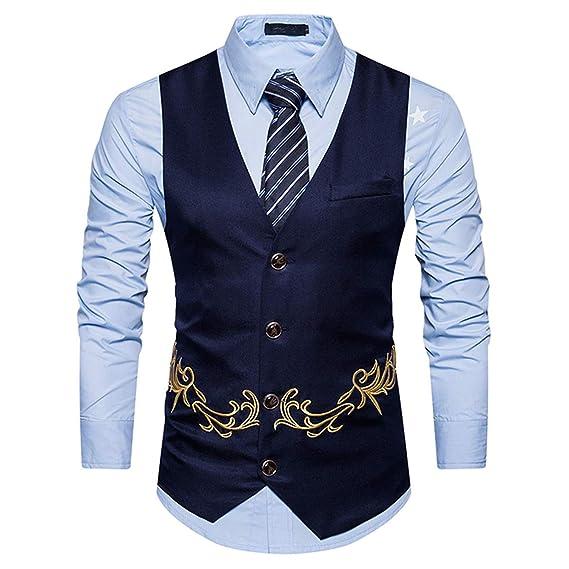 Xbrec Chaleco De Vestir Para Hombre Con Bordado Formal Ajustado Con Botones Para Esmoquin Chaleco Premium