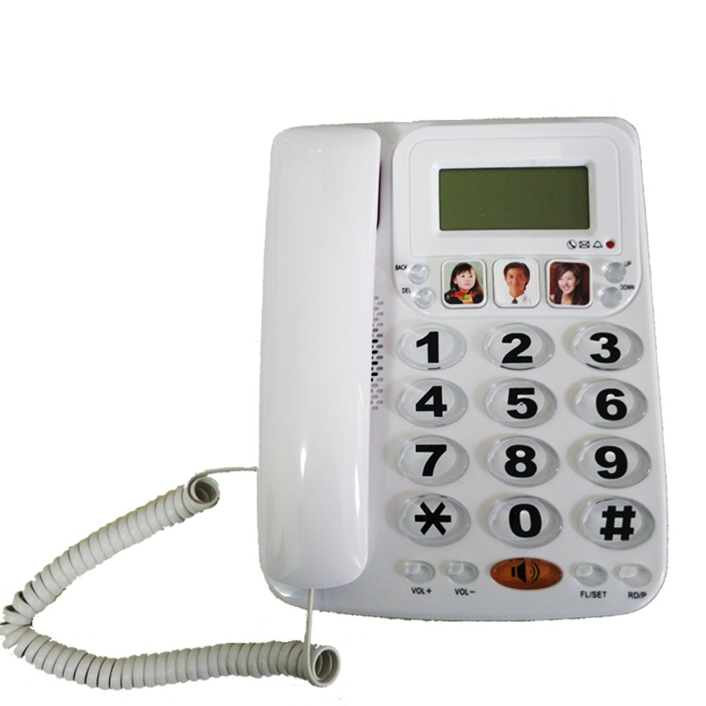 LeeKerTel Large Button Corded Phone with Caller ID Speed Dial Picture Phones for Seniors(White, P029W)