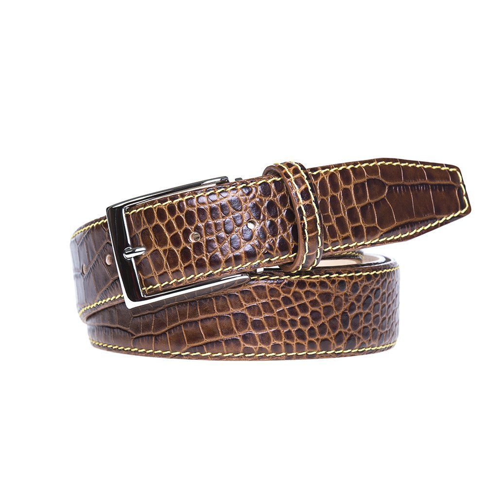 Rust Italian Mock Croc Leather Belt