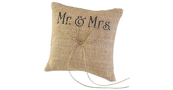 Amazon.com: Tinksky Mr Mrs Burlap yute boda almohada cojín ...