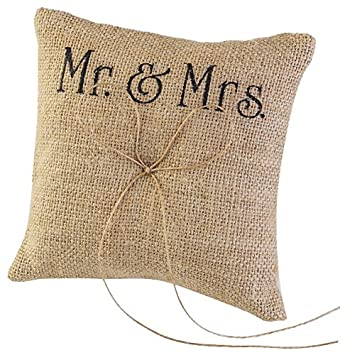 TINKSKY Mr Mrs Wedding Ring Pillow Burlap Jute Bow Twine Rustic Ring Pillow
