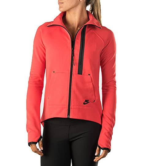 e32eaa72d568 Amazon.com  Nike Womens Tech Fleece Moto Cape Darling Red Black ...