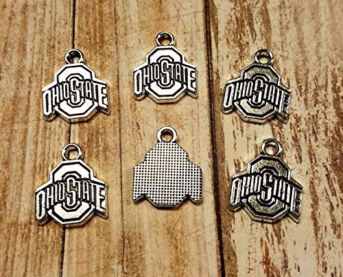 World's Natural Treasures 5 Pieces/Set NFL College Sports Team OSU Charm Pendant Ohio State Football Silver Pendant Engraved Message Charm Carved Words Scarlet Gray
