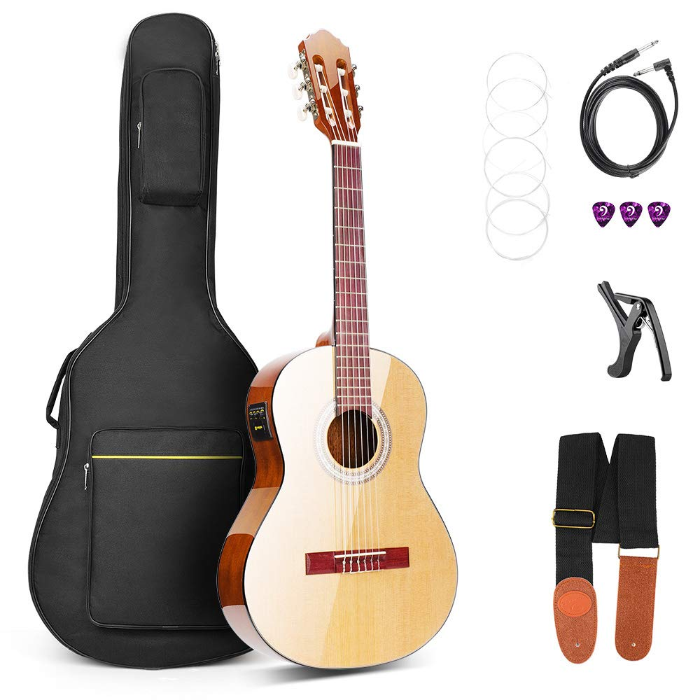 Vangoa 36 Inch 3/4 Size Acoustic Electric Classical Guitar Spruce Wood Travel Guitar Nylon String with Guitar Kit, 2 Band EQ