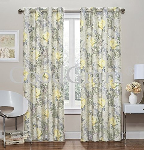 Floral Thermal Foamback Grommet Curtains - Assorted Colors (Neutral Yellow