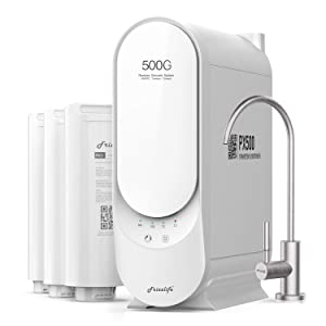 Frizzlife RO Reverse Osmosis Water Filtration System - Tankless 500 GPD Fast Flow RO Filter, 1.5:1 Pure to Drain, Reduces TDS, Small Footprint W/Brushed Nickel Faucet, USA Tech Support, White, PX500