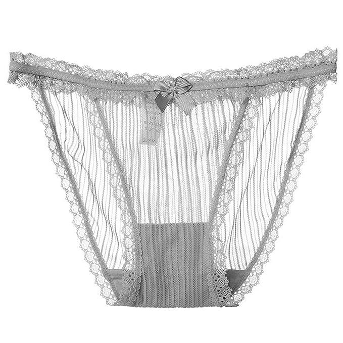 8f3497c7ba U.Expectating Damen Tempting Spitze String Unterwäsche Unterhosen Sexy Mesh  Transparente Panties Hipsters (Grau