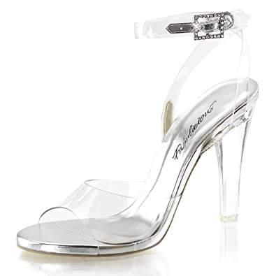 2b8a1946541c Summitfashions Womens Clear High Heels Buckle Ankle Strap Sandals  Transparent 4 1 2 Inch Heels