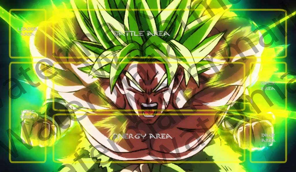 Masters of trade Broly Legendary Super Saiyan Dragonball Super DBZ DBS TCG CCG playmat gamemat 24'' Wide 14'' Tall for Trading Card Game Smooth Cloth Surface Rubber Base