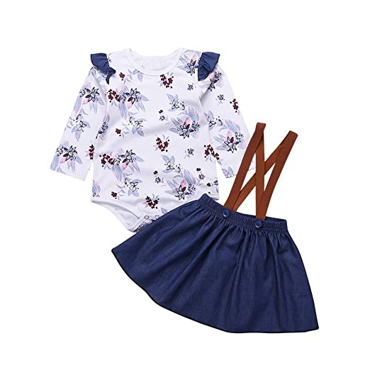 a396e0597e1d Amazon.com  Cuekondy Toddler Baby Girls Long Sleeve Floral Romper Jumpsuit  Denim Strap Skirt 2019 Baby Clothes Outfit 6-24 Months  Clothing