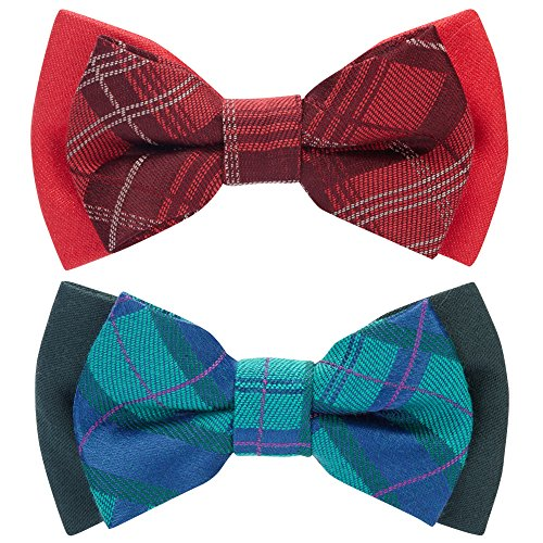 Blueberry Pet Valentine's Day Gift Box with Pack of 2 Handmade Dog Cat Bow Tie, Scottish Plaid Tartan Style Bowtie Set in Scarlet Red & Emerald Green, 4