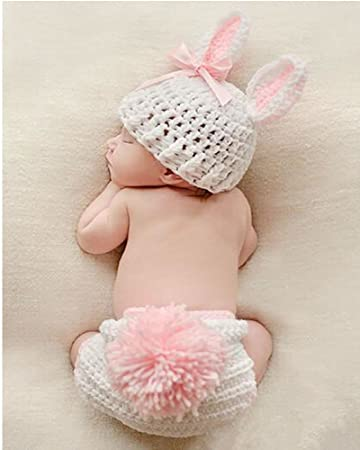 90966115eb4 Amazon.com  Dealzip Inc Fashion Unisex Newborn Boy Girls Crochet Knitted  Baby Outfits Costume Set Photography Photo Prop-Pink Rabbit  Baby