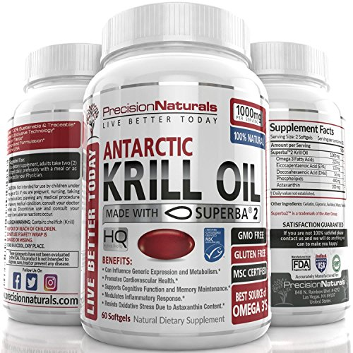 Krill Oil 1000mg/Serving Softgel Capsules Best Source of Pure Omega 3s EPA DHA and Astaxanthin Suberba2 (TM) MSC Certified Red Oil Supplement for Mega Results Best Antarctic Fish Oil Supplement l
